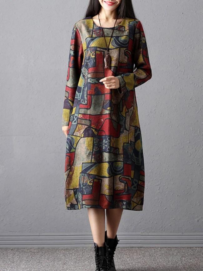 Fashionmia Round Neck Slit Pocket Graffiti Woolen Maxi Dress