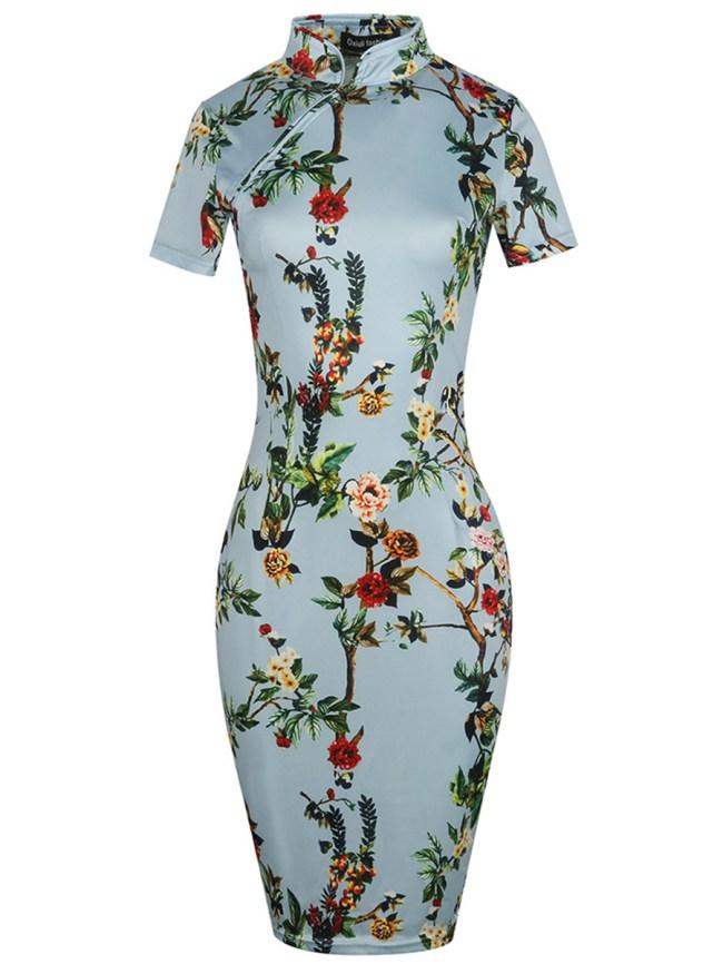 Fashionmia Band Collar Floral Bodycon Dress