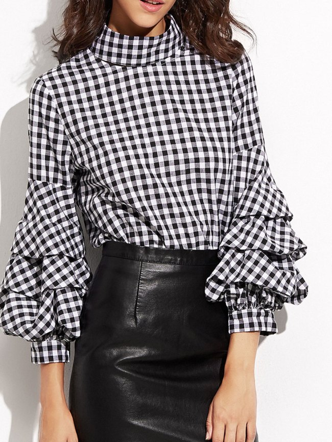 Fashionmia High Neck Flounce Plaid Puff Sleeve Long Sleeve Blouses