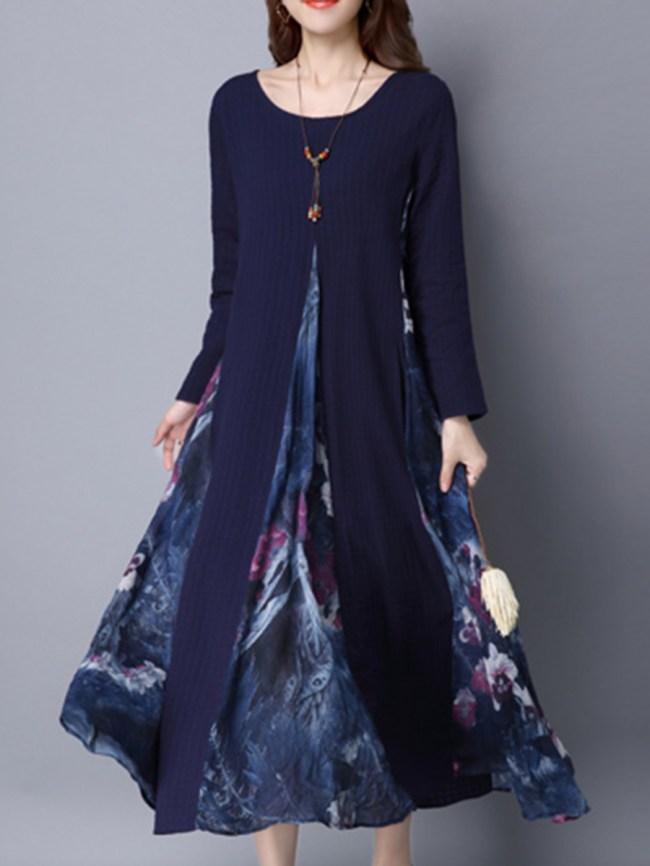 Fashionmia Round Neck Printed Pocket Maxi Dress