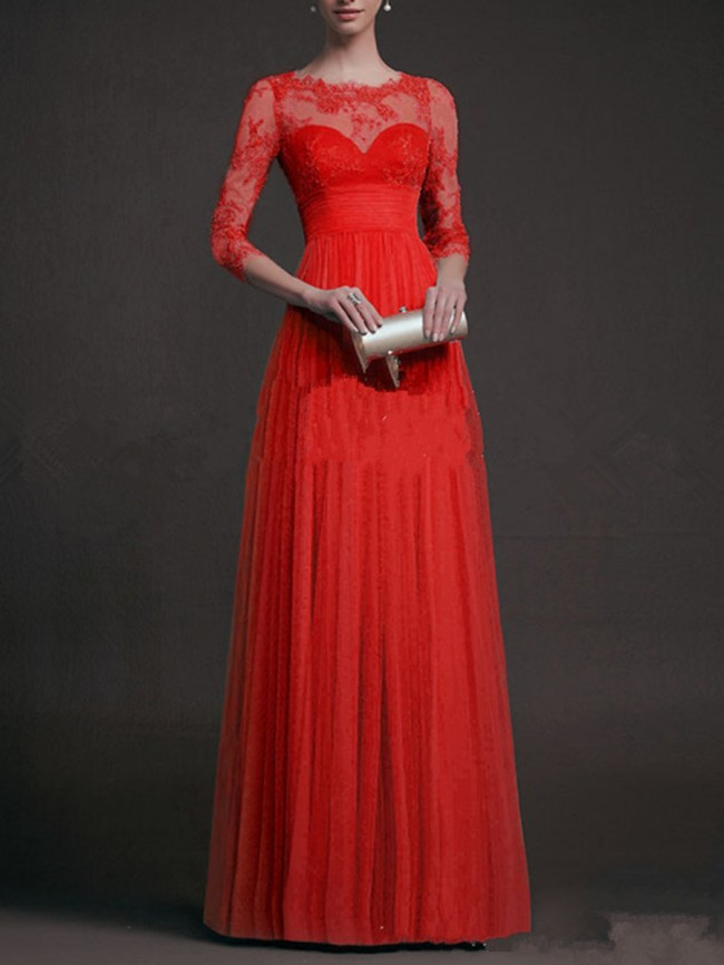 Fashionmia Exquisite Solid See-Through Evening Dress