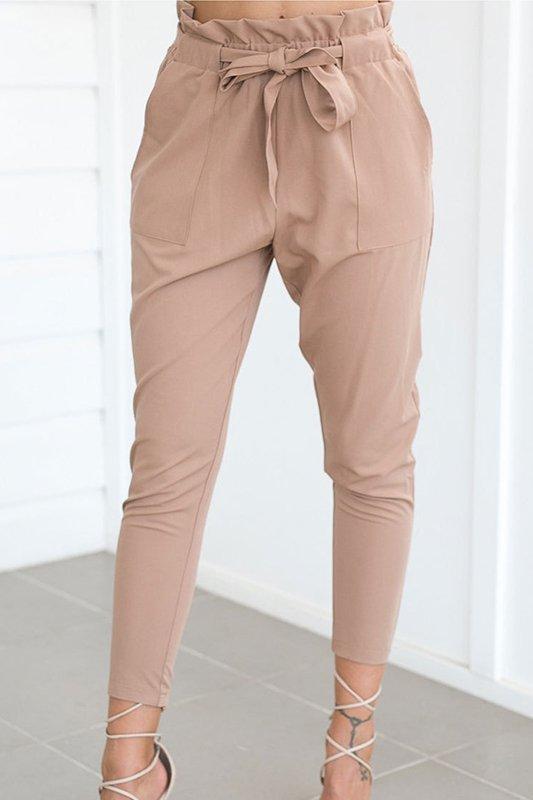Fashionmia Belt Plain Slim Leg Pant