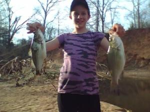 The Little Gal and 2 sand bass