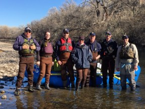 This team of Colorado Parks and Wildlife aquatic biologists spent the week of Dec. 4-8 surveying fish in the Arkansas River from the Lake Pueblo State Park dam through Pueblo. They are, from left, Paul Foutz, Katy Cooley, Jim Ramsay, Carrie Tucker, Josh Nehring, Mike Atwood and Cory Noble.