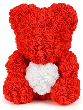 Artificial Rose Bear Heart 40cm