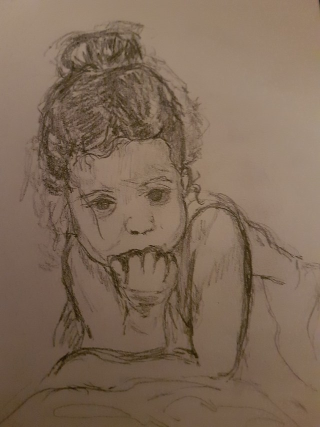 Pencil Drawing of a very tired little girl sucking her fingers