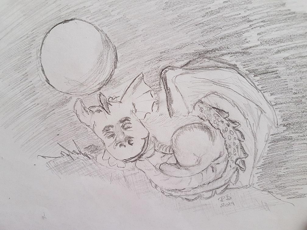 Pencil Drawing of Sleeping Dragon
