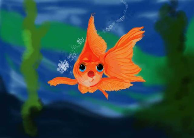 Orange Goldfish with bubbles