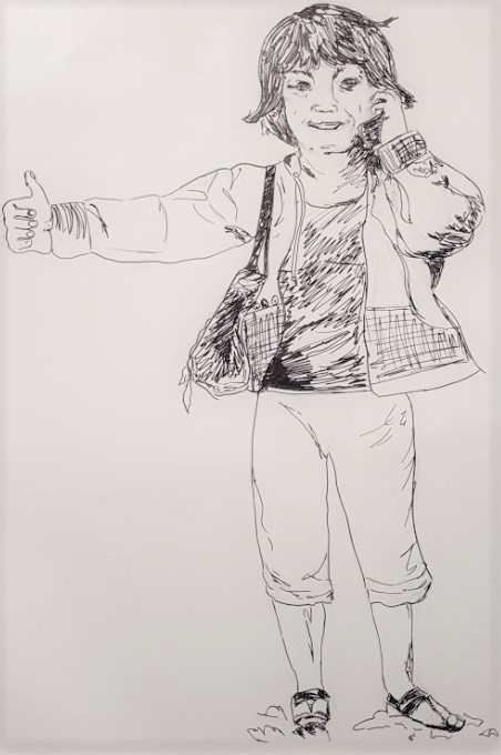 drawing in marker of a girl taking on the phone, with a thumbs up gesture.