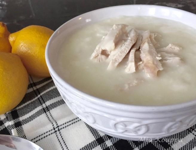 Avgolemono (egg and lemon) soup with chicken/ (Σούπα αυγολέμονο με κοτόπουλο)