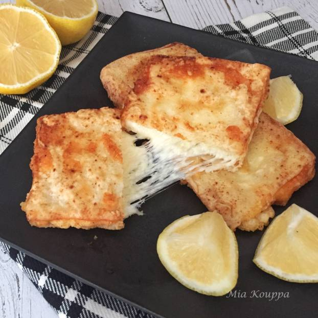 Cheese saganaki. Try this delicious Greek fried cheese recipe!