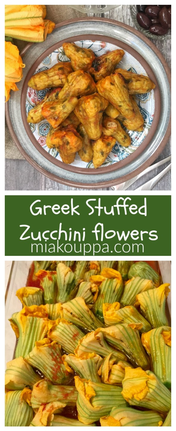 Greek stuffed zucchini flowers