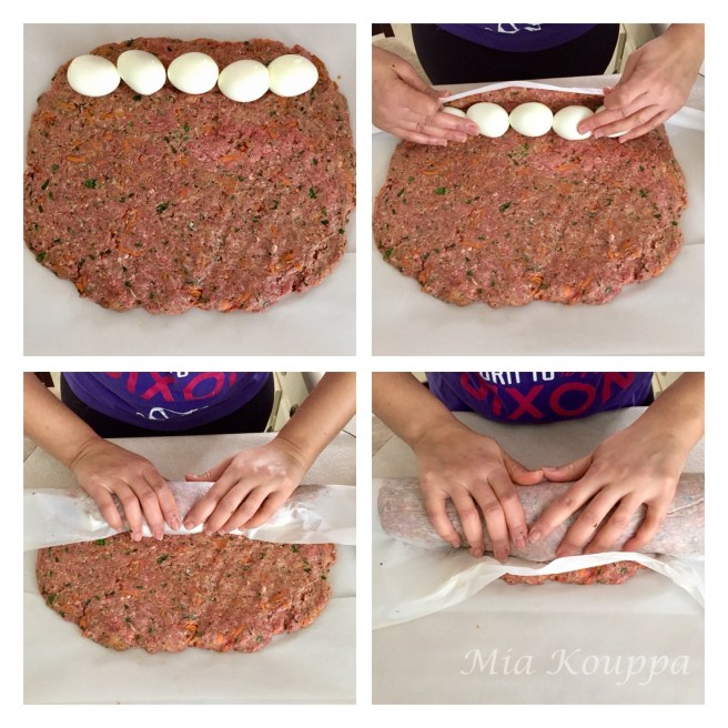 Meatloaf with hard-boiled eggs (Ρολό με κιμά και αβγά)