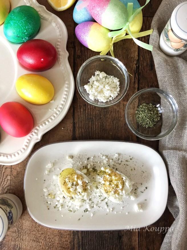 Greek style hard boiled eggs
