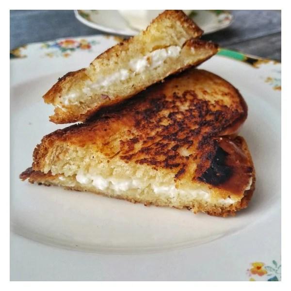 Tsoureki and feta grilled cheese
