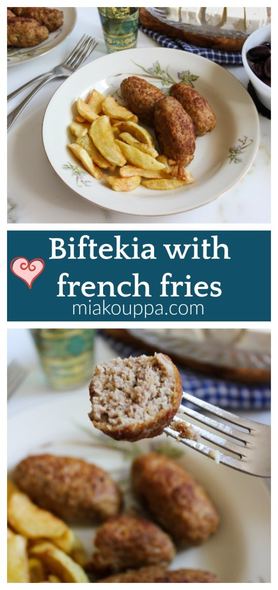 Biftekia with french fries (Μπιφτέκια με τηγανιτές πατάτες)