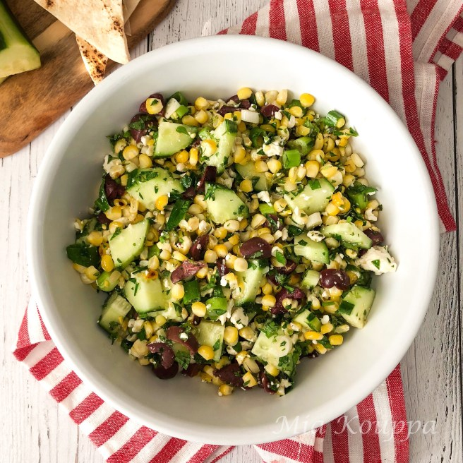 Grilled corn, cucumber and feta salad