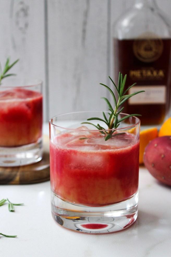 Cactus pear, orange and Metaxa cocktail