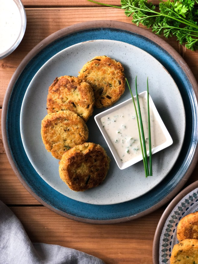 Chickpea fritters with a lemon tahini sauce