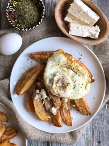 Fried potatoes and egg