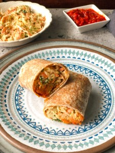 Red lentil and bulgur wraps with a tahini slaw