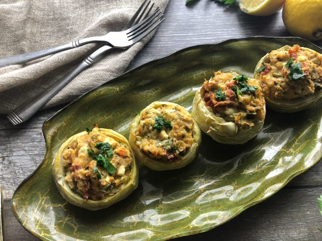White bean stuffed artichoke hearts