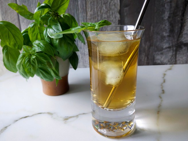 Chamomile and basil iced tea