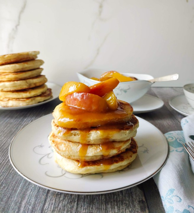 Pancakes and peach sauce