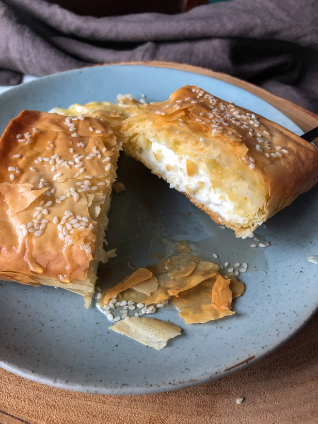 Baked feta wrapped in filo dough