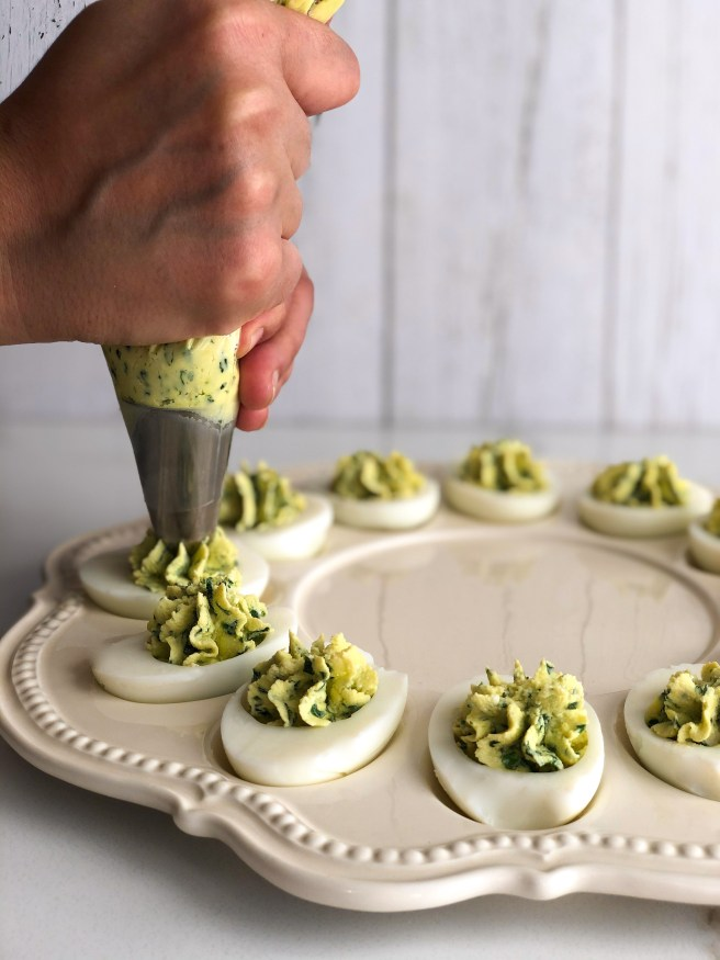 Spanakopita inspired deviled eggs