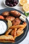 Biftekia with roasted lemon potatoes