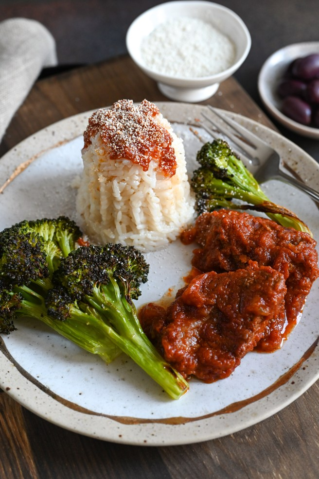 Veal kokkinisto with rice stars stewed veal slow cooked in a rich tomato sauce