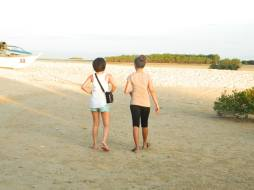 Me and Cha-cha walking towards the sandbar