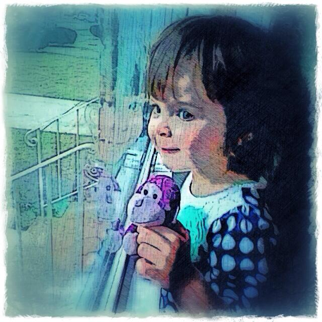 Little girl looking out of a window - child portrait by BZTAT