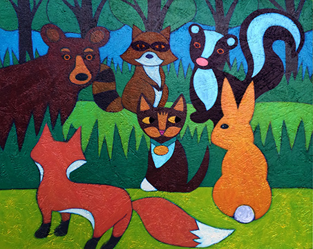"""Oh My, Mia Meow!"" Children's Picture Book Illustration Forest animals"