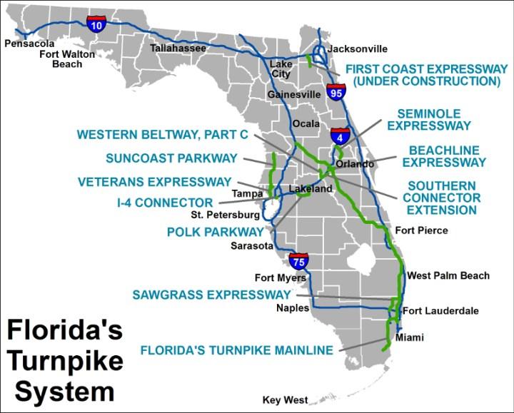 Carte autoroute Floride