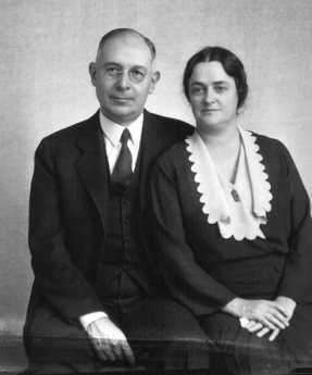 """Then Miami President Alfred """"A.H."""" Upham (Miami Class of 1897) and Miami First Lady Mary C. Upham sit for a passport photo in 1932. Their family reportedly took """"round-the-world"""" trips. From the Frank R. Snyder Photograph Collection, Miami University Libraries."""