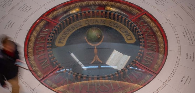 3-dimensional version of the seal in the Armstrong Student Center at Miami University