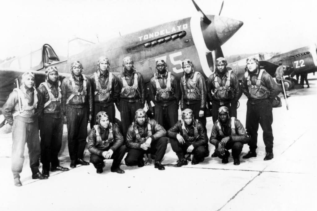 Black and white photo of the Tuskegee AIrmen squadron