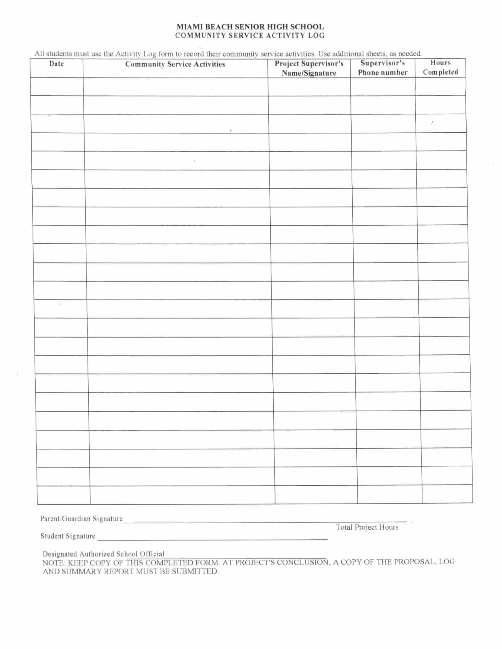 Search Results For Blank Volunteer Hours Log Sheet