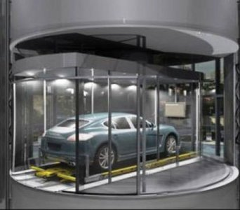 The Porsche Design Tower's car elevator