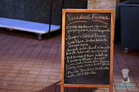 Arsht Center - Farm to Table Dinner - Menu