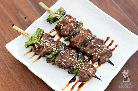 Etaru - Spicy Beef with Shishito Peppers Skewers