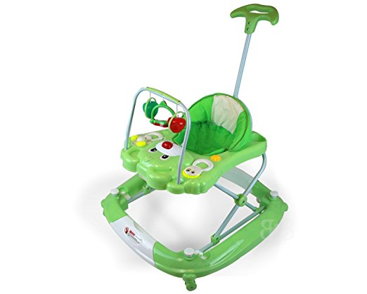 Best Safety 3 in 1 Walker, Rocker, Parent push handle, and emergency stair stopper (Bear) (Green)