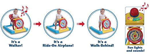Children's 3-in-1 Convertible Lil' Sit, Stand, or Ride Interactive Airplane Activity Walker, Walk-Behind, and Ride On 2