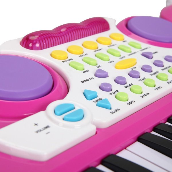 Costzon 2 In 1 Electronic Keyboard and Drum Musical 37-Key Toy Electronic Organ Piano and Drum with Microphone and Flashing Legs (Pink)3