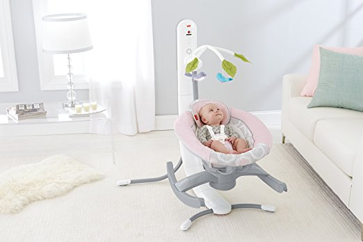 Fisher-Price 4-in-1 Smart Connect Cradle 'N Swing, Pink Shadow 3