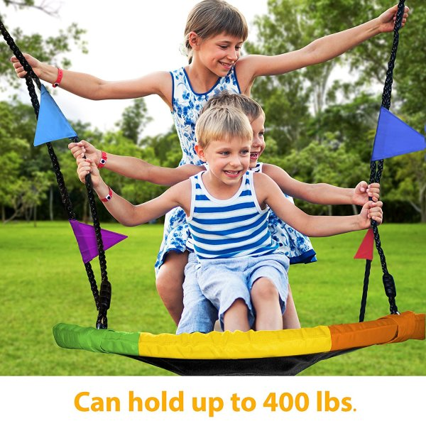 Giant 40 Saucer Tree Swing in Elite Rainbow – 400 lb Weight Capacity2