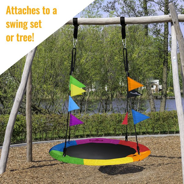 Giant 40 Saucer Tree Swing in Elite Rainbow – 400 lb Weight Capacity7