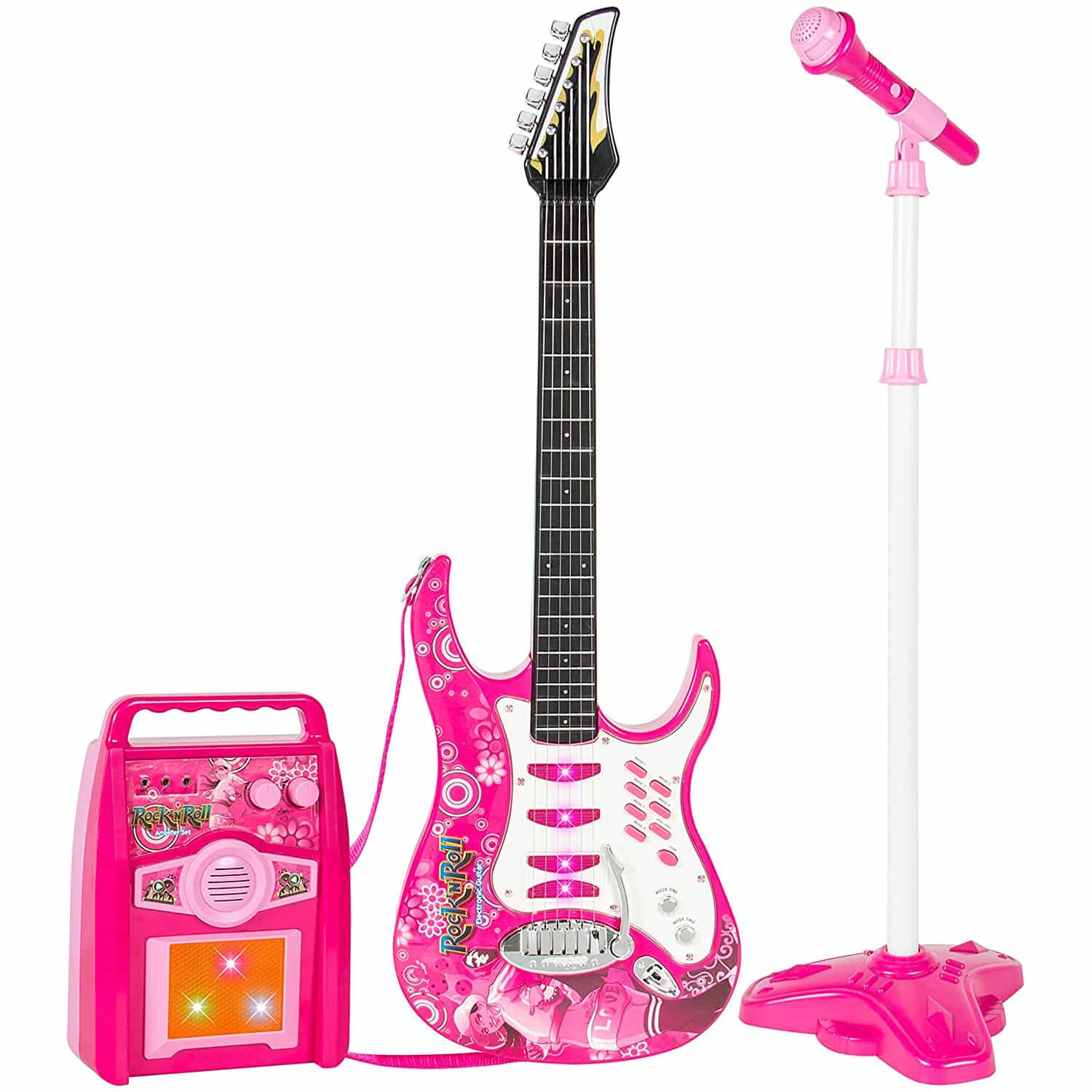 Guitarra Eletrica Infantil Rosa para Meninas Best Choice Kids Electric Guitar